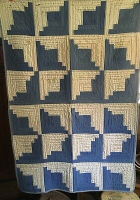 Antique Crib, Baby Quilt, Blue And White