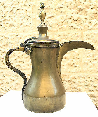 "12"" OMANI PERSIAN  ARABIC 19th CENTURY COPPER DALLAH BEDOUIN COFFEE POT SIGNED"