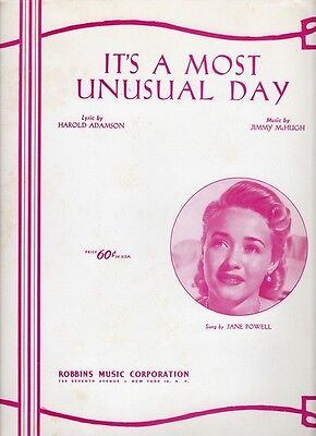 1948 It's A Most Unusual Day Jane Powell Rare Antique Original Sheet Music O553