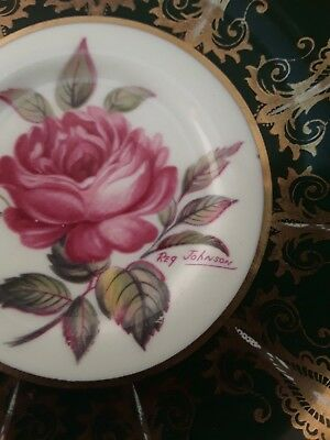 Paragon Saucer Only Green With Rose Signed Johnson