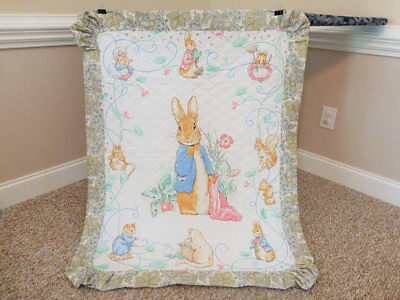 Vintage Quilt made from Beatrix Potter fabric, Peter Rabbit Quilt Blanket