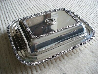 William A, Rogers Electroplate Silver Lidded Serving Tureen Dish Tray Antique