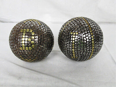 Pair of Antique French Nail Balls Bocce Bowling Petanque
