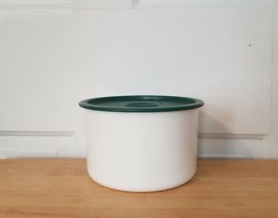 VGUC! Tupperware white, coffee filter container/canister 2709, green lid 2717
