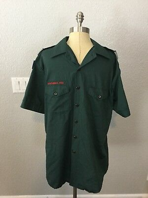 Official BSA Boy Scout Venturing Green Adult L Uniform Short Sleeve Shirt