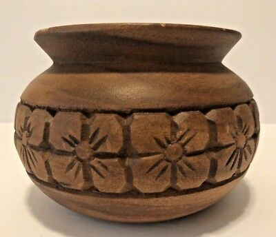 Vintage Hand Carved Monkey Pod Bowl Vase With Flower Pattern-Made In Philippines