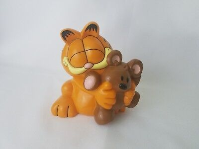 "GARFIELD hugging Pooky Bear Plastic Piggy Bank Money Bank 6"" Tall"