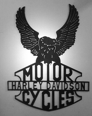 Metal art black eagle harley davision wall/home/garden decor heavy duty