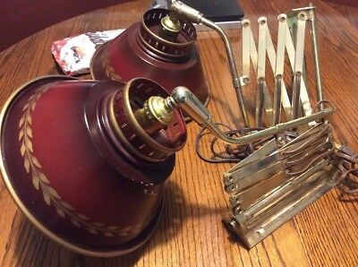 Pair of Tole vintage Accordion Style Wall Mount Lamps