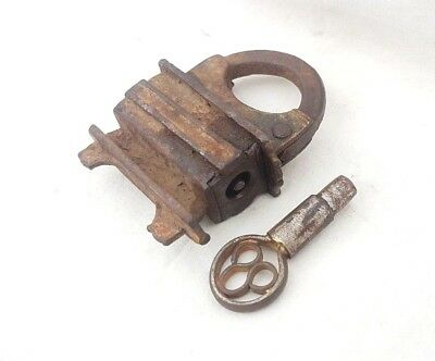 Rare 1900's Old Vintage Antique Unique Handcrafted Solid Strong Iron Lock & Key