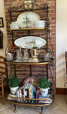 Antique French Bakers Rack Wrought Iron And Brass