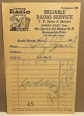 1951 Receipt from RELIABLE RADIO SERVICE T.V. Sales in South Haven Michigan