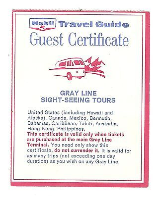 MOBIL TRAVEL GUIDE GUEST CERTIFICATE for Gray Line Bus Tours 1964 - 1965