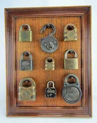 Lot of (9) Antique Vintage Padlocks on Presentation Board Yale Corbin Walsco