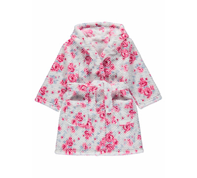 George Floral Hooded Dressing Gown Age 5-6 YRS & Full Back Floral Slippers S 12