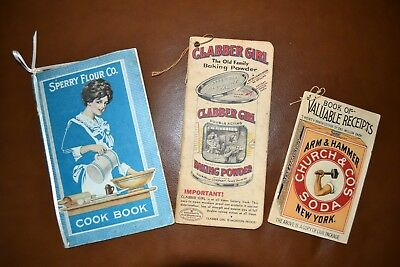 LOT of 3 Vintage Advertising Cook Booklets: Clabber Girl, Sperry, Arm & Hammer