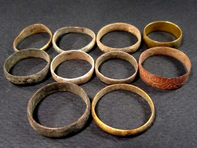 LOT OF 10 pcs. ANTIQUE WEDDING RINGS, METAL DETECTOR FINDS!!!