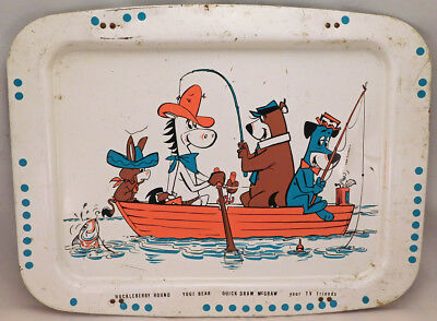 Hanna Barbera Cartoon Tv Tray Huckleberry Hound Yogi Bear Quick Draw Mcgraw