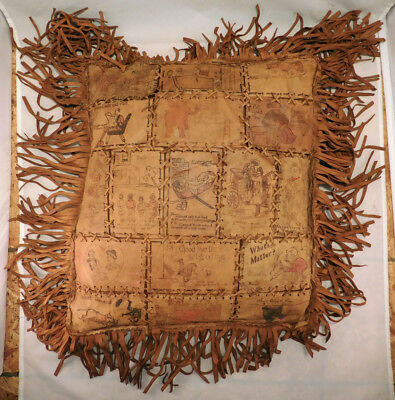 Vintage Antique Leather Pillow with Fringe Using Real Leather Postcards