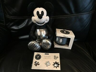 Disney Memories Mickey Mouse Steamboat Willie Plush, Pins, And Coffee Mug!