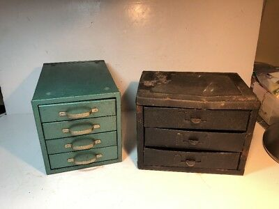 Pair of Vintage Small Parts Metal Cabinetx Chest Box 3 & 4 Drawers