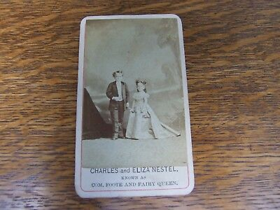 Vintage CDV COM. FOOTE & FAIRY QUEEN, Charless & Eliza Nestel, sideshow, signed