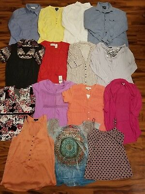 Lot of 15 Women's Casual Dress Tops Size Medium
