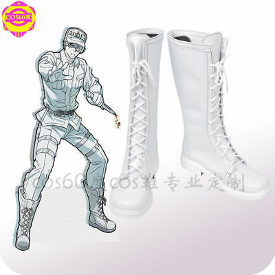 Cells at Work WBC White Blood Cell Leukocyte White Cosplay Shoes Boots Shoes JJ