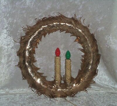 Wreath Aluminum Christmas Gold Tinsel Foil Lighted 2 Candle Vintage