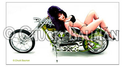 Fridge Magnet Elvira Biker Bitch Babe girl bikini chopper pin-up girl Harley