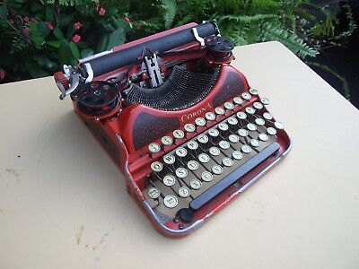 Vintage 1920's CORONA portable typewriter, 4 bank, red with yellow keys