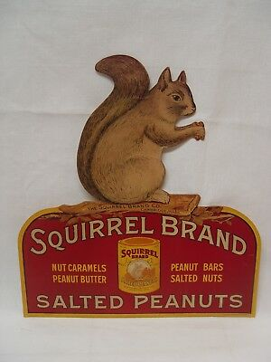 Early Squirrel Brand Salted Peanuts Diecut Advertising Cardboard Lithograph Sign