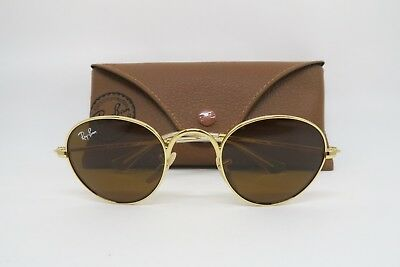New Ray Ban Jr KIDS RJ9537S 223/3 Round Shiny Gold/Clear Sunglasses 40mm w/ Case