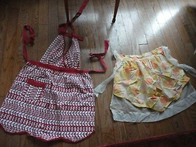 Lot of 2 Vintage Aprons: 1: 1/2 apron reversible,1 Full size: white & red halter