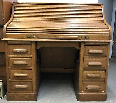 Classic Antique Oak Roll Top Desk Circa 1897