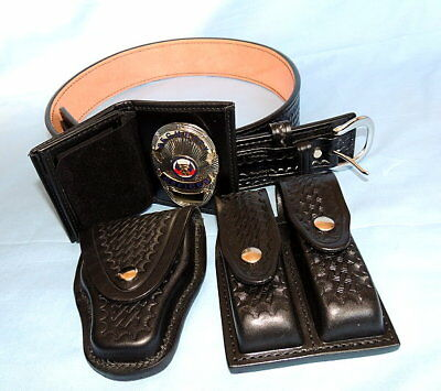 LOT of 5 - Police Duty Belt & Accessories-Badge-Wallet-Cuff Link Holder-Dbl Mag