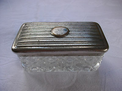 Vintage cut glass hairpin / trinket dish with plated metal lid