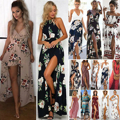 Womens Summer Boho Maxi Dress Evening Ladies Party Beach Long Sundress Holiday