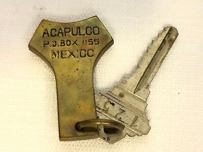 Vintage Acapulco Mexico  Hotel Key And Fob Brass Fob Room 125