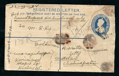 1924 Insured Registered Letter Kurnool India Postmark Label to Channapatna 12A