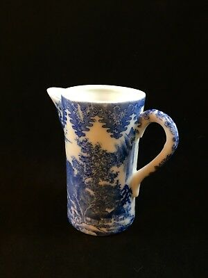 Antique Chinese Blue on White Willow Porcelain Small Creamer Marked