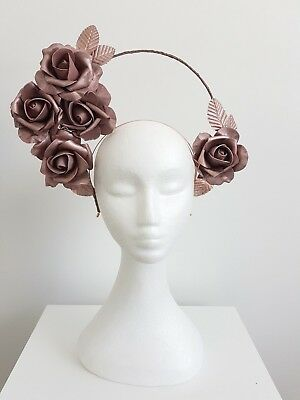 Miss Eva womens halo style headband fascinator with roses in Rose gold