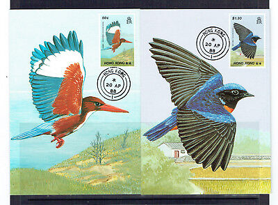 Hong Kong 1988 Birds Maxicards x 2  First Day Of Issue - Mint - Unadressed