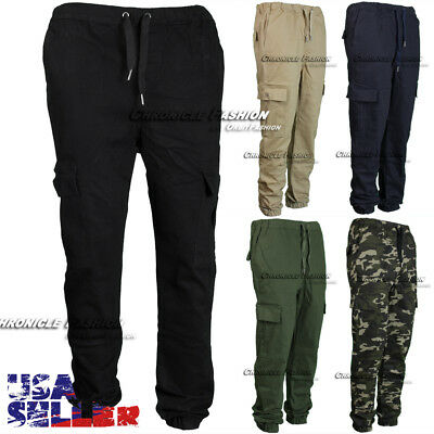 Mens Casual Pants Cargo Pockets Twill Jogger Stretch Slim Fit Straight Trouser