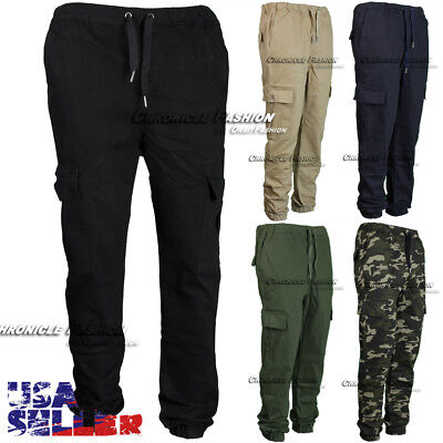 Mens Twill Cargo Pants Pocket Jogger Stretch Slim Fit Straight Casual Trouser