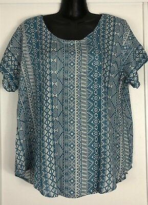 LADIES Casual Top Tunic Size Plus 16 18 Blue Cool A line Shirt Sleeve