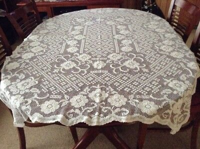Vintage White Cotton Tuscany Lace Tablecloth Lot 7