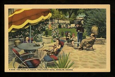 Arizona AZ postcard Winslow, The Patio La Posada Fred Harvey Hotel linen