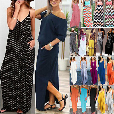 Women Summer Long Maxi Dress Casual Beach Party Sundress Plus Size Boho Loose AU
