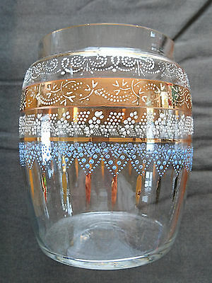 Clear Victorian glass vase with gold gilding & blue & white enamelled pattern